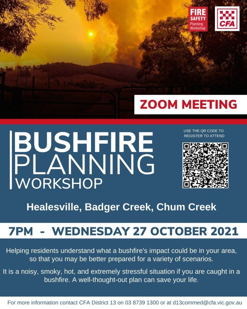 Bushfire Planning Workshop 27/10/2021 - Healesville, Chum Creek, Badger Creek
